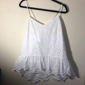 White Eyelet Strappy Tank Blouse, Ties In Back